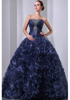 Pretty Navy Blue Princess Strapless Beading and Hand Made Flowers Quinceanea Dress