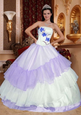 Colourful Ball Gown Strapless 2014 Embroidery Quinceanera Dresses