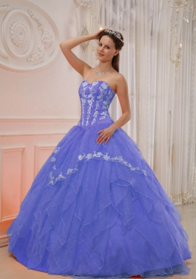 Elegant Puffy Sweetheart 2014 Appliques Quinceanera Dresses with Ruffles