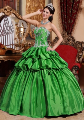 Exclusive Green Puffy Sweetheart with Pick-ups Appliques Quinceanera Dress for 2014
