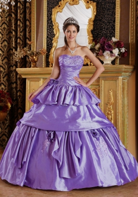 Fashionable Lavender Puffy Strapless 2014 Quinceanera Dresses with Pick-ups