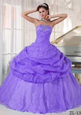 New Style Puffy Strapless 2014 Appliques Quinceanera Dresses with Pick-ups