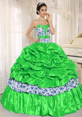 Perfect Beading and Pick-ups For Spring Green Quinceanera Dress for 2014