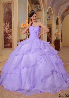 Popular Lavender Puffy Sweetheart Ruffles and Beading Quinceanera Dresses for 2014
