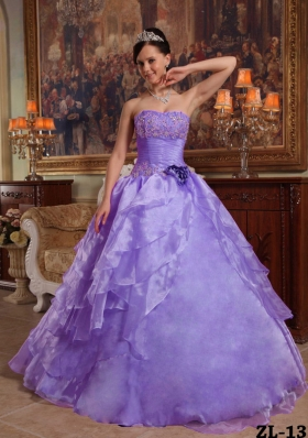 Puffy Strapless 2014 Beading Quinceanera Dresses with Hand Made Flower