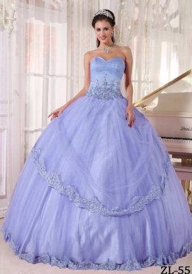 Popular Puffy 2014 Sweetheart Lace Appliques Quinceanera Dresses