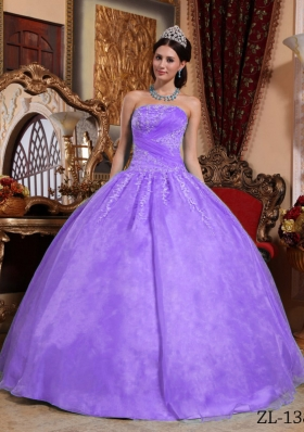 Beautiful Puffy Strapless Lace Appliques Quinceanera Dresses for 2014
