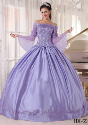 Exquisite Lavender Off The Shoulder 2014 Lace Appliques Quinceanera Dresses