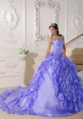 New Style Puffy Strapless Beading 2014 Quinceanera Dress with Court Train