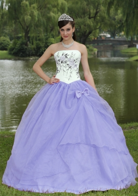2014 Spring New Style Embroidery Lavender Quinceanera Dresses With Strapless
