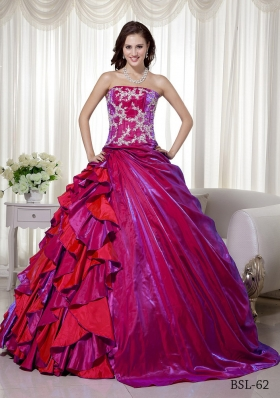 Ball Gown Strapless Floor-length Taffeta Appliques Quinceanera Dress
