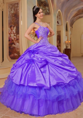 Elegant Purple Puffy One Shoulder Lace Quinceanera Dresses for 2014