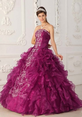 Fuchsia Strapless Organza Quinceanera Dress with White Embroidery