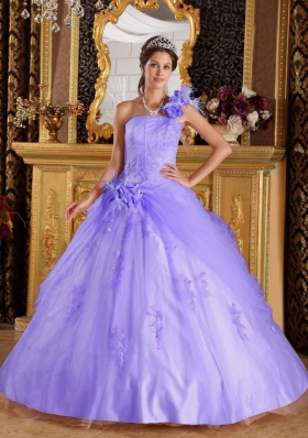Lovely Puffy One Shoulder 2014 Appliques Quinceanera Dresses with Beading