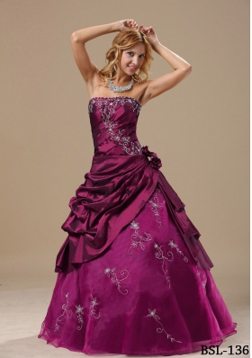 Strapless Embroidery and Hand Made Flowers Prom dress