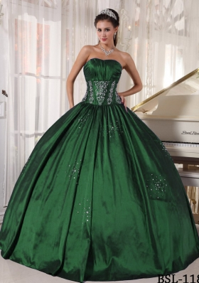 Affordable Ball Gown Strapless Quinceanera Dresses with Embroidery Beading