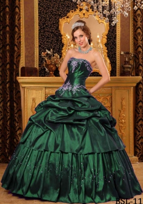 Cheap Ball Gown Strapless Dark Green Quinceanera Dresses with  Appliques