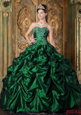 Dark Green Ball Gown Sweetheart Quinceanera Dresses  with Picks-up