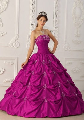 Fuchsia Strapless Taffeta Appliques and Pick-ups Quinceanera Gowns