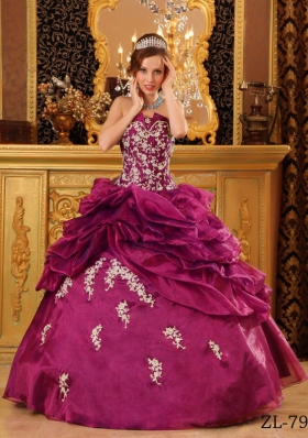 Strapless Organza Pick-ups Quinceanera Dress with White Appliques