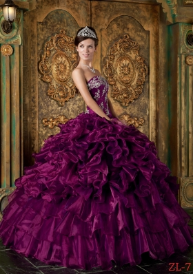 Strapless Organza Ruffles and Appliques Quinceanera Dress for 2014 Spring
