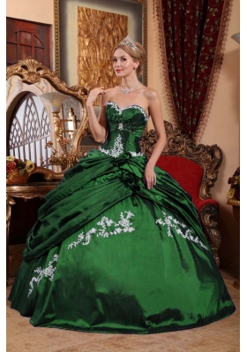 2014 Dark Green Puffy Sweetheart Quinceanera Dresses with Appliques