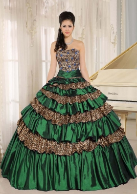 2014 Green Leopard Layers and Appliques Quinceanera Dress For Custom Made