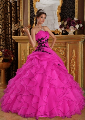 Appliques and Beading Sweetheart Organza Quinceanera Dress for Cheap