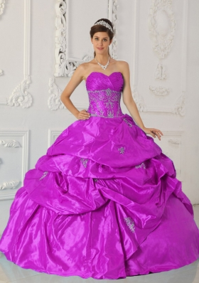 Appliques and Ruching Sweetheart Fuchsia Taffeta Sweet Sixteen Dresses