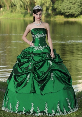 Custom Made Green Quinceanera Dress with Embroidery and Pick-ups