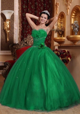 Dark Green Ball Gown Sweetheart 2014 Quinceanera Dresses with Beading