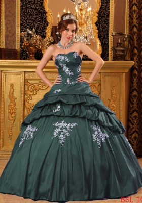 Dark Green Puffy Sweetheart Quinceanera Dresses with Beading and Appliques
