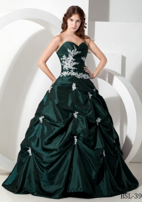 d7c2506f171 Elegant Dark Green Puffy Sweetheart Quinceanera Dresses with Taffeta  Appliques