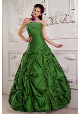 Green Princess Strapless Quinceanera Dress with Beading and Embroidery
