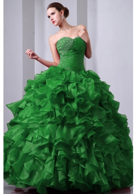 Green Princess Sweetheart Organza Quinceanea Dress with Beading and Ruffles