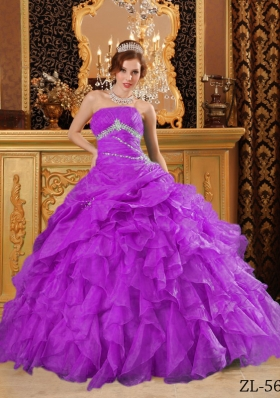 Popular Organza Full Length Quinceanera Dress with Beading And Ruffles