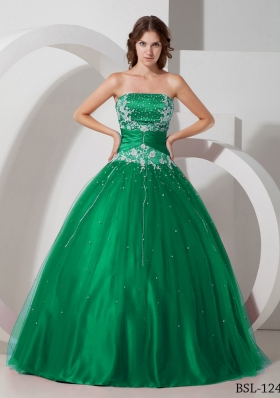 Puffy Strapless Appliques and Beading 2014 Spring Quinceanera Dresses