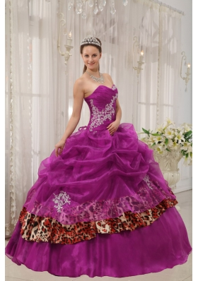 Sweetheart Organza and Leopard Fuchsia Quinceanera Dress with Appliques