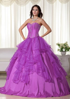 Popular Sweetheart Organza Sweet Sixteen Dresses with Appliques