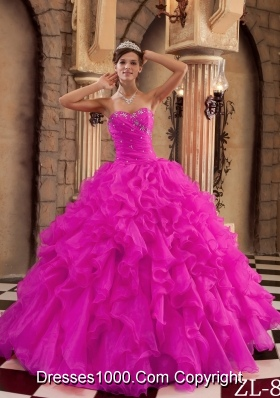 Fuchsia Sweetheart Organza Beaded Decorate Quinceanera Dress with Ruffles