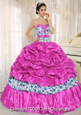Exclusive Beading and Pick-ups Taffeta Quinceanera Gown with Printing