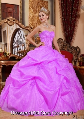 Puffy Strapless Organza Sweet 15 Dresses with Appliques and Pick-ups