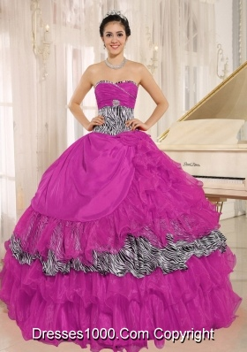 Sweetheart Ruffles and Beading Quinceanera Gown with Zebra and Organza