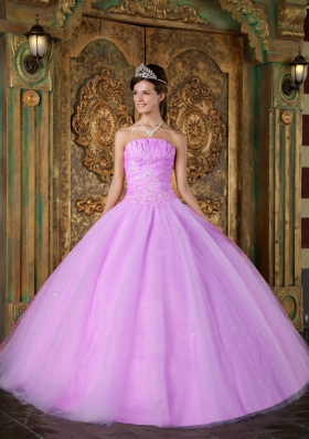 Ball Gown Strapless Appliques and Ruching Tulle Quinceanera Gown