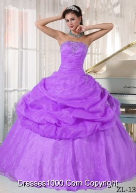 Ball Gown Strapless Appliques Dress For Quinceanera with Pick-ups