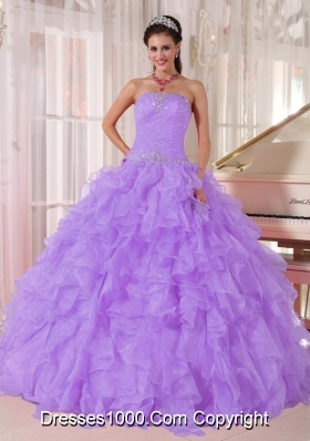 Ball Gown Strapless Lilac Beading Sweet 16 Dresses for Party