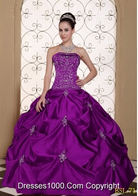 Embroidery Strapless Modest Quinceanera Dress with Pick-ups