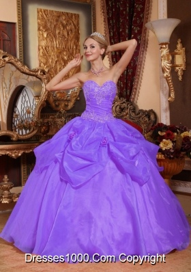 Lilac Sweetheart Organza Quinceneara Dresses with Pick-ups and Appliques