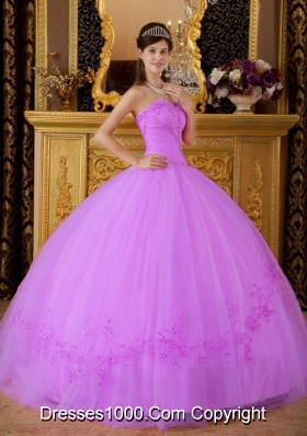 Lilac Sweetheart Tulle Quinceanera Gown Dresses with Appliques