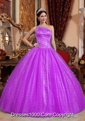 One Shoulder Tulle and Taffeta Beading Quinceanera Dress with Sequins